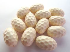 Oval Cream colored Dimpled Vintage Plastic Beads, 24mm - 4 pieces
