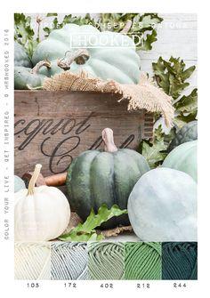 Kleurinspiratie herfst - Pompoenen in groen tinten. Haakkatoen van Scheepjes Catona