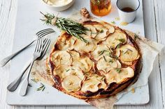Easy apple tart with rosemary and honey syrup