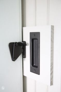 Diy add a lock to a barn door the handmade home bathroom barn doors interior bathroom barn door kit Sliding Barn Door Lock, Barn Door Locks, Interior Sliding Barn Doors, Sliding Barn Door Hardware, Barn Door Latch, Diy Interior Doors, Barn Door Decor, Hanging Barn Doors, Interior Paint