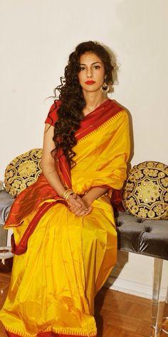 Yellow and red classic silk sari