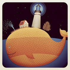 island ocean Weird Sharks, Weird Fish, House Illustration, Illustrations, Shark Art, House Drawing, Fish Art, Whales, Lighthouses