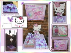 Hello Kitty themed kids party with centerpiece, party packs, A4 picture cake and banner.