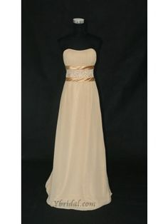 A-line Strapless Floor-length Chiffon Evening Prom Dress SAL0002