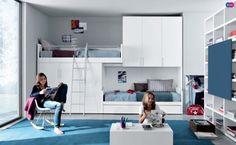 ideen fürs jugendzimmer zwei hochbetten schränke blauer teppich