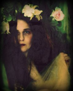 Peach, 8x12 inches, Photographic Pre-Raphaelite Portrait of a WomanFrom MerlePaceArts