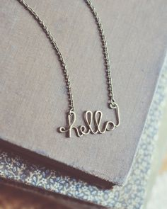 cursive hello necklace. by bellehibou on Etsy