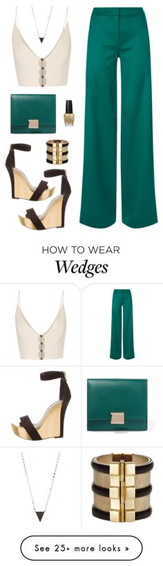 """Untitled #483"" by sheissostrange on Polyvore featuring Balmain, La Perla, Smythson, Zimmermann, Lana, OPI and emeraldgreen"