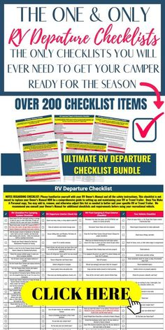 $17 New to RV camping? Scared you will forget something during the set up and departure? These RV Departure Checklists have over 200 items in an easy to navigate mobile format. You can use them on Google Sheets or Print them out and take them with you. Either way, you can relax knowing you don't have to remember it all. Just use your checklists! $17 Rv Campers, Happy Campers, Camper Trailers, Rv Trip Planner, Travel Planner, Rv Hacks, Camping Hacks, Rv Tires, Camping Checklist