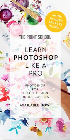 We're giving you the tools you need to become the best designer you can be as we de-mystify the wonderful world of Photoshop for you! We offer two online courses: ✖️ Photoshop for Textile Design - Illustration ✖️ Photoshop for Textile Design - Watercolour ENROL NOW! Photoshop Course, Learn Photoshop, Photoshop For Photographers, Photoshop Actions, Adobe Photoshop, Lightroom, Textile Pattern Design, Surface Pattern Design, Fabric Design