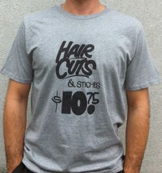 Hair Cuts & Stitches - gray New T, Stitches, Hair Cuts, Gray, Colors, Mens Tops, T Shirt, Black, Fashion