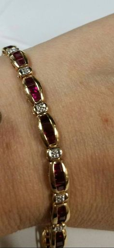 373e719f2caad Riviera Ruby and Diamond Bracelet in 14k White Gold (2.2mm)
