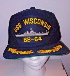 3dc4736eaf0 VTG USS Wisconsin BB-64 Snapback Hat Battleship Navy Military Scrambled  Eggs. King O  Plush · Hats