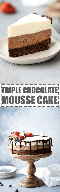 This triple chocolate mousse cake is rich, smooth, creamy and full of flavor. It features layer of chocolate souffle cake, rich chocolate mousse and white chocolate mousse on top. Garnished with chocolate ganache and berries. Great for any occasion and celebration. Perfect for chocolate lovers! #chocolatemoussecake #triplechocolate #triplechocolatemoussecake #moussecake #chocolatemousse