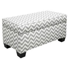 Storage Bench Ottoman Gray Chevron Cushioned Sturdy Living Room Bedroom Decor | eBay