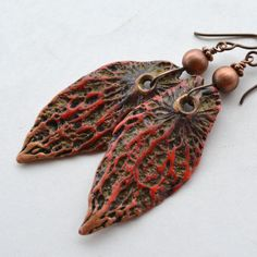 Bold Red and Brown Veined Polymer Clay Leaf Shaped Earrings