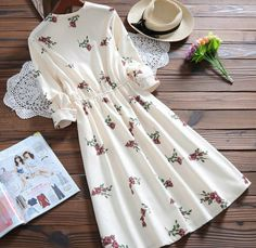 casual dress on sale at reasonable prices, buy Sweet Spring Autumn Women Printed Casual Dress Cute Corduroy Long Sleeve Femininos Vestidos Round Neck Loose Elegant Dress from mobile site on Aliexpress Now! Muslim Fashion, Modest Fashion, Hijab Fashion, Fashion Dresses, Simple Dresses, Pretty Dresses, Casual Dresses, Midi Skater Dress, Dress Skirt