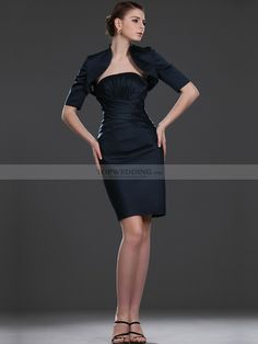 Sheath Strapless Mother of the Bride Dress with Wrap