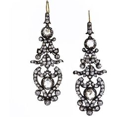 Antique Victorian Diamond Drop Earrings ($26,875) ❤ liked on Polyvore featuring jewelry, earrings, earring jewelry, diamond jewellery, antique diamond earrings, diamond chandelier earrings and antique drop earrings