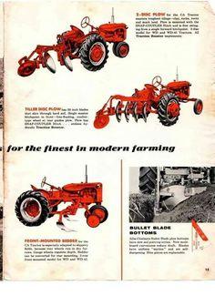 ALLIS-CHALMERS Impliments Ad Antique Tractors, Vintage Tractors, Vintage Farm, Antique Cars, Allis Chalmers Tractors, Farmall Tractors, Crop Protection, Tractor Attachments, Graphic Design Brochure
