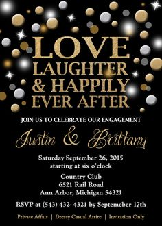 Engagement Party Invitation Love Laughter by GreatOwlCreations