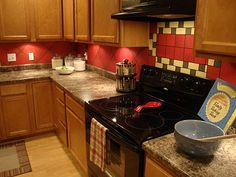 kitchen backsplash ideas with red | backsplash with red accent