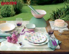 Light strokes of colour on everyday tables. Design: Omnia Comunicazione By #FratelliGuzzini