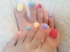 colorful pedi - Yesssss please! Cute Toe Nails, Sexy Nails, Toe Nail Art, Essie, Pedicure Designs, Toe Nail Designs, Pretty Nail Colors, Pretty Nails, China Glaze
