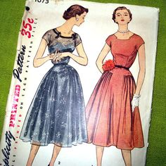 1950s Vintage Pattern  Full Skirt DRESS with by SelvedgeShop