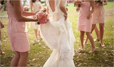 Beautiful back to this wedding gown (also love the pink bridesmaid dresses)