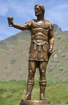 Arminius (Irmin or Hermann) of the Germanic Cherusci tribe. An alliance of Germanic tribes under his command defeated the imperial Roman army at the battle of Teutoberg Forest in 9 C.E.