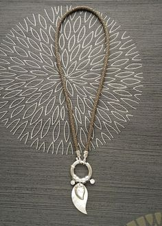 Stingray Leather Choker Necklace with Feather Pendant by KRAMIKE
