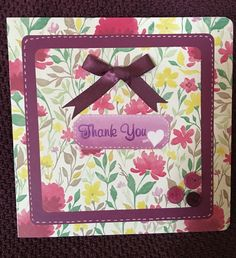 Buttons & bow thank you card....