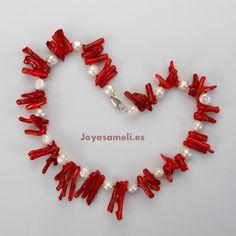Collar de mujer de coral rama y perlas cultivadas, broche de plata, largo 47cm