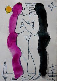 alberto franco fernandez, mujer desnuda entre sombras; pintura técnica mixta