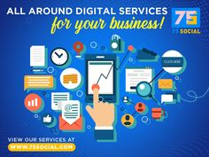 For affordable, strategic and effective digital services for your business, we are here. We specialize in the following: ➤ Social Media Management ➤ Graphics and Web Designing ➤ Logo/Branding Creation ➤ Search Engine Optimization ➤ LinkedIn and Pinterest Marketing ➤ Google My Business Management ➤ Video Production and YouTube Channel Management and a lot more... To check out our offerings, visit www.75social.com or send us an email at sales@75social.com. Online Marketing Companies, Online Marketing Strategies, Digital Marketing Strategy, Facebook Marketing, Internet Marketing, Social Media Marketing, Professional Web Design, Best Seo Company, Web Development Company