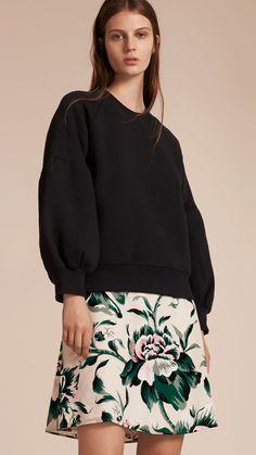 Sweatshirt aus Jersey mit Glockenärmeln Schwarz | Burberry