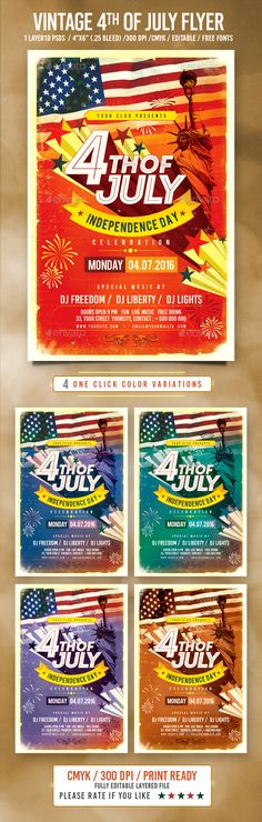 4th of July Flyer Design Template - Holidays Event Flyer Template PSD. Download here: http://graphicriver.net/item/4th-of-july/16705635?s_rank=289&ref=yinkira