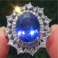 FLAWLESS Tanzanite Diamond 18k White Gold Vintage Art Deco Ring