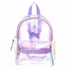 <P>Tassels, glitter, and neon - oh my! Rock this funky purple tinted clear backpack to school or for fun. The backpack has a purple sequin shaker star in the front of the bag. </P><UL><LI>Two zip to close pouches <LI>Adjustable straps </LI></UL>