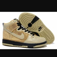 super popular 64383 ebdbd Nike High Top Dunks For Womens Gold Black Sneakers