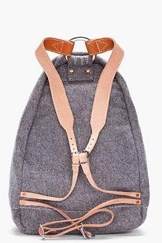 Yuketen Grey Heather Wool Triangle Backpack for Men | SSENSE