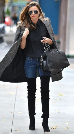 MIRANDA KERR | TUXEDO SHIRT + THIGH-HIGH BOOTS // HOLIDAY SALE GUIDE