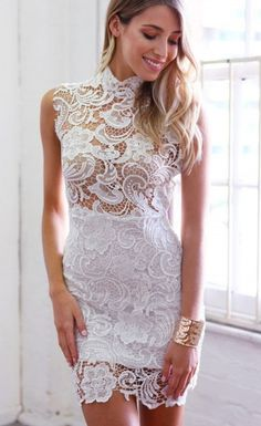 Lace Hollow-out Mini Vintage Dress