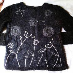 Ручная одежда свитер валяно-вязанный