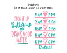 Excited to share this item from my shop: Water Bottle Decal, Water Tracker Decal, Suck It Up Buttercup and Drink Your Water Water Bottle Tracker and Design, Decal Only 20 Oz Water Bottle, Water Bottle Tracker, Water Bottle Crafts, Water Bottle Design, Water Quotes, Vinyl Gifts, Watering Cans, Wonderful Life, Harvest Moon
