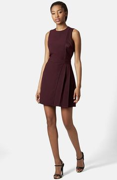 Topshop Satin Panel Fit & Flare Dress available at #Nordstrom