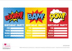 Free Superhero Party Printables  Invitations   CatchMyParty.com