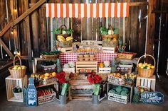 Farmer's Market Stand + Main Table from a Farmers Market Birthday Party via Kara's Party Ideas | KarasPartyIdeas.com (20)