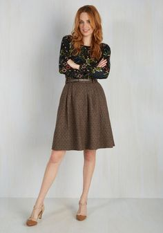 Mentor of Attention Skirt. Be it around the office or at the cafe, this mocha tweed skirt will get noticed immediately! #brown #modcloth